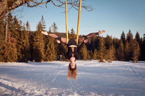 cvičení v šále v zimě